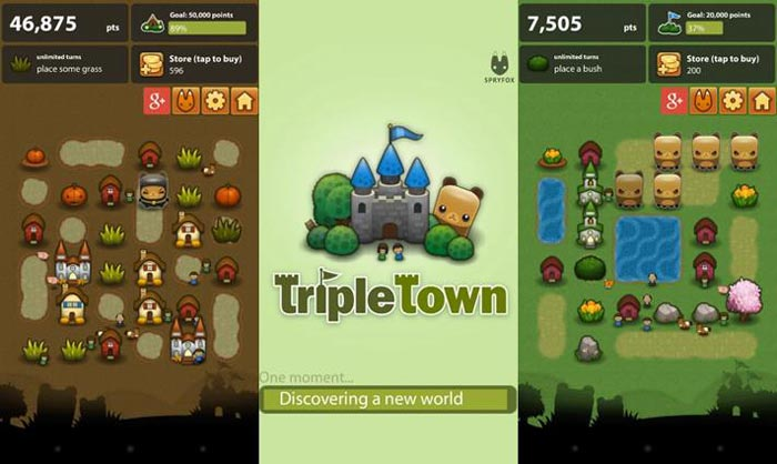 Melhores jogos Android tipo Candy Crush, Triple Town.