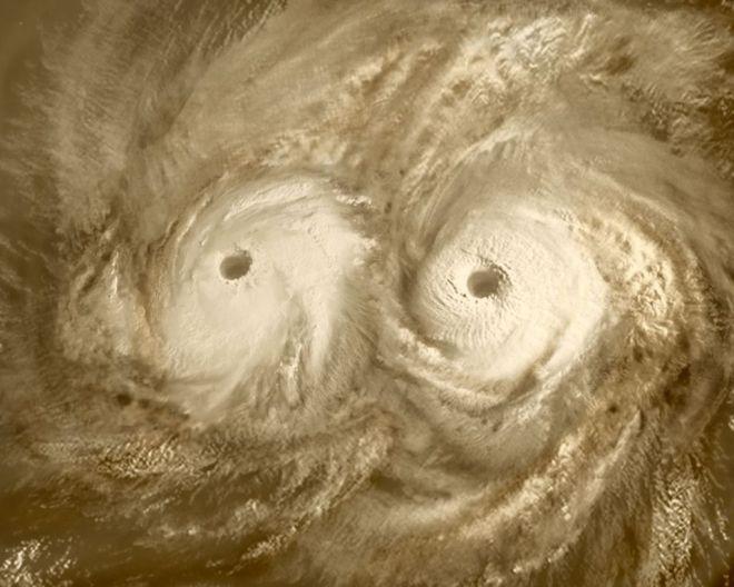 Il doppio vortice sopra il polo sud di Venere. Immagine dell'ESA.