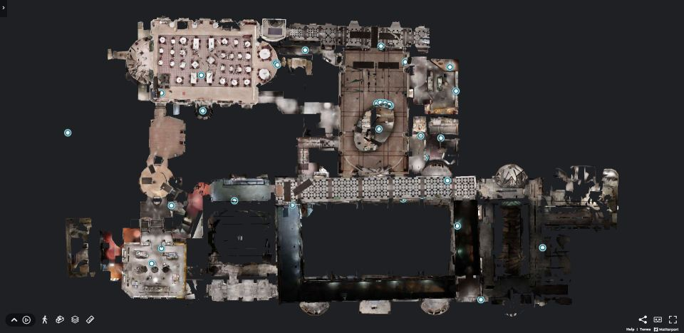 Screenshot of the 3d virtual tours - floor plan of the Pump Room in Bath