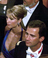 COUPLE: Norwegian Eva Sannum was in a five-year relationship with the current King Felipe of Spain from 1996 to 2001. Here the couple was photographed together during Crown Prince Haakon and Crown Princess Mette-Marit's wedding in 2001. Photo: AFP / NTB