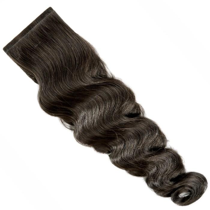 gewellte Tape Extensions von Seidenhaar Berlin - Hochwertige Echthaar Haarverlängerungen in Remy-Qualität - Farbe: dunkelbraun #2 (Bild 3)