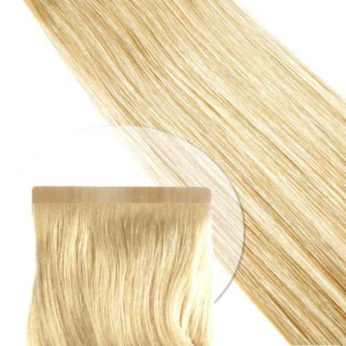 Tape-Extensions von Seidenhaar Berlin - Hochwertige Echthaar Haarverlängerungen in Remy-Qualität - Farbe: mittelblond #22 (Bild 1)