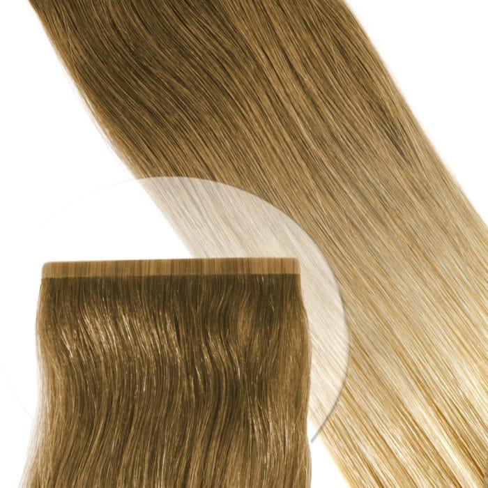 Tape Extensions von Seidenhaar Berlin - Hochwertige Echthaar Haarverlängerungen in Remy-Qualität - Farbe: Farbverlauf mittelbraun - hellbraun - Ombre O#10/22 (Bild 1)