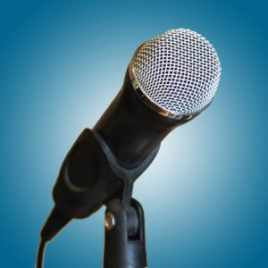 Microphone Against a Brown Background