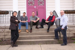 Artists for the Riffe Gallery opening at Seilers' Studio, Yan Sun, Paul Emory, John Taylor-Lehman, Michael Seiler, and Alan Cottrill in front of Seilers' Studio and Gallery.