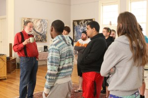Student visitors at Seilers' Studio and Gallery in the artist colony discussing art and the implications of working with Asphalt and Alkyds as a contemporary fine art medium with Michael Seiler.