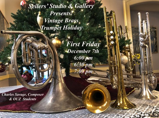 Charles Savage, composer and arranger will perform with 7 trumpets for the holiday First Friday Art walk