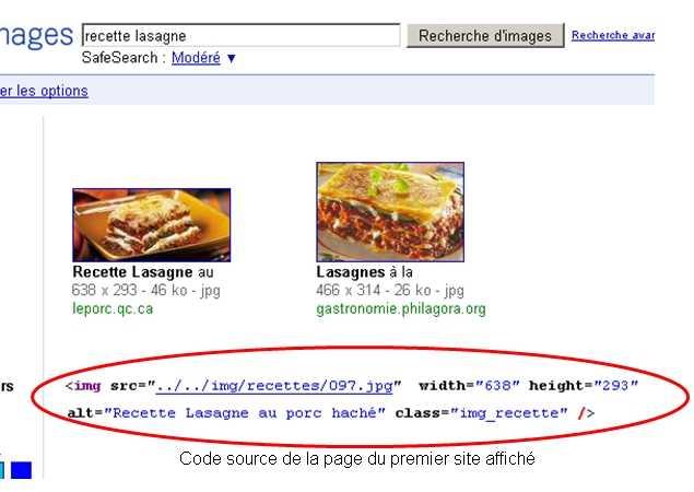 Recherche sur Google Image pour confirmer l'importance des balises ALT