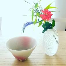 食卓に新しい顔。 田中信彦さんの新作、白磁茶碗。 鈴木玄太さんのガラス一輪挿し。 庭に咲いた松本仙翁と瑠璃虎の尾。