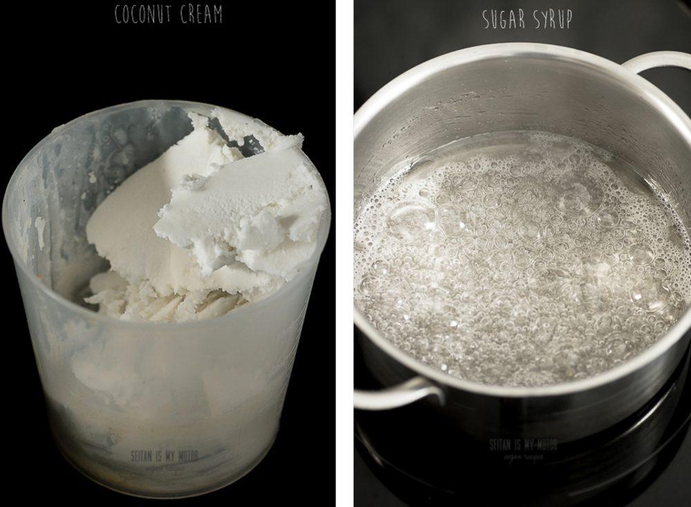 coconut cream and sugar srup