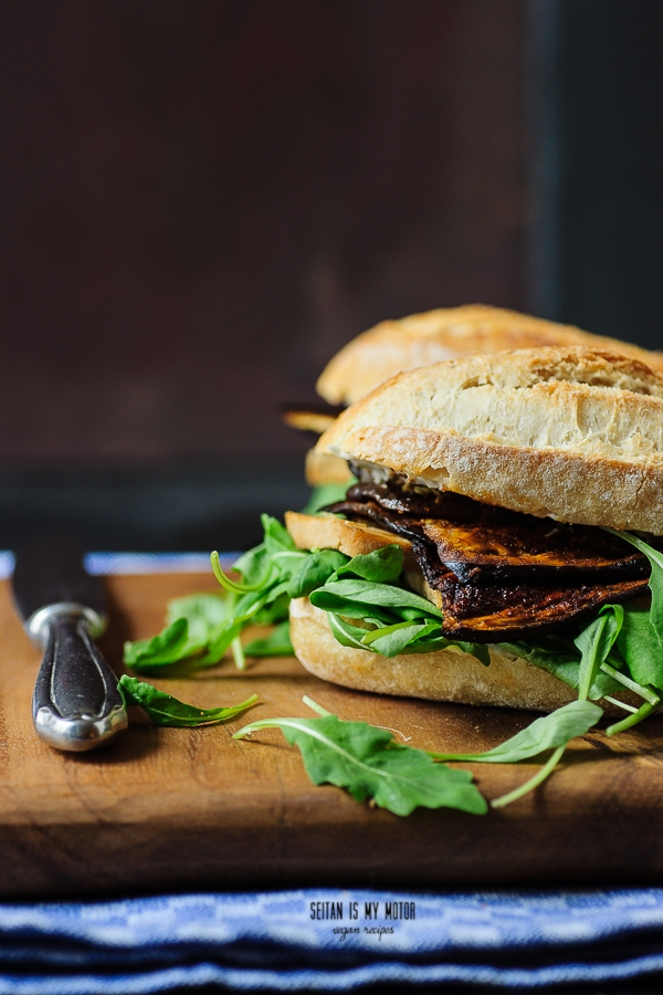 marinated eggplant sandwich | Vegan MoFo 2015