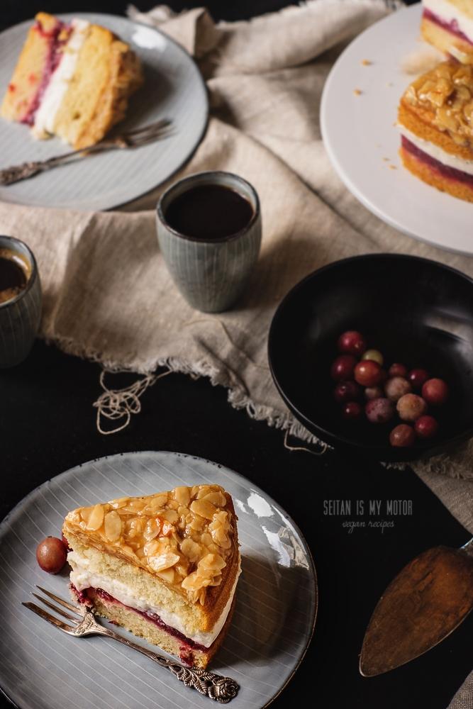 Bienenstich Vegan {Vanilla Cake with Almond Brittle, Vanilla Custard, and Gooseberies}