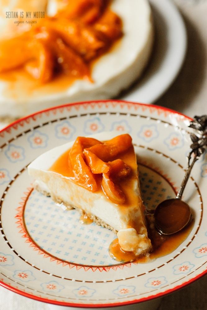 Apricot Cheesecake: vegan no-bake recipe. No cream cheese, no nuts.