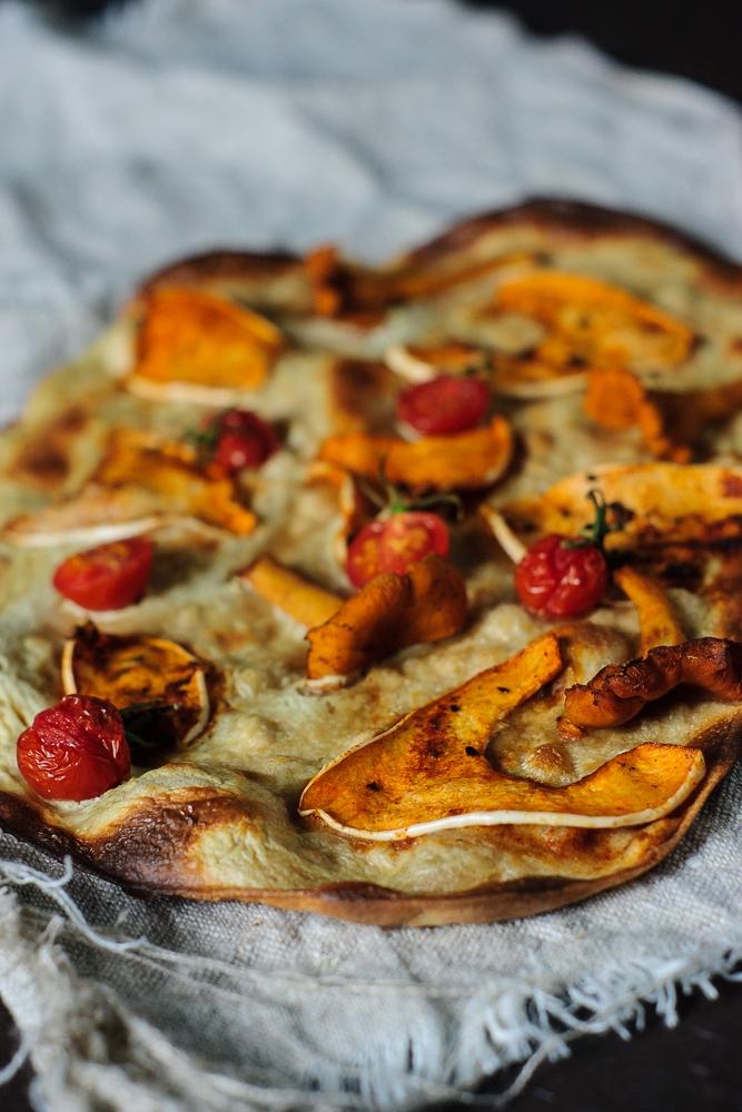 tarte flambée with squash and chanterelles