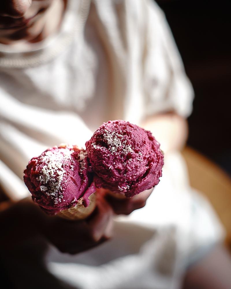 Raspberry Elderflower Ice Cream with Cocoa Butter