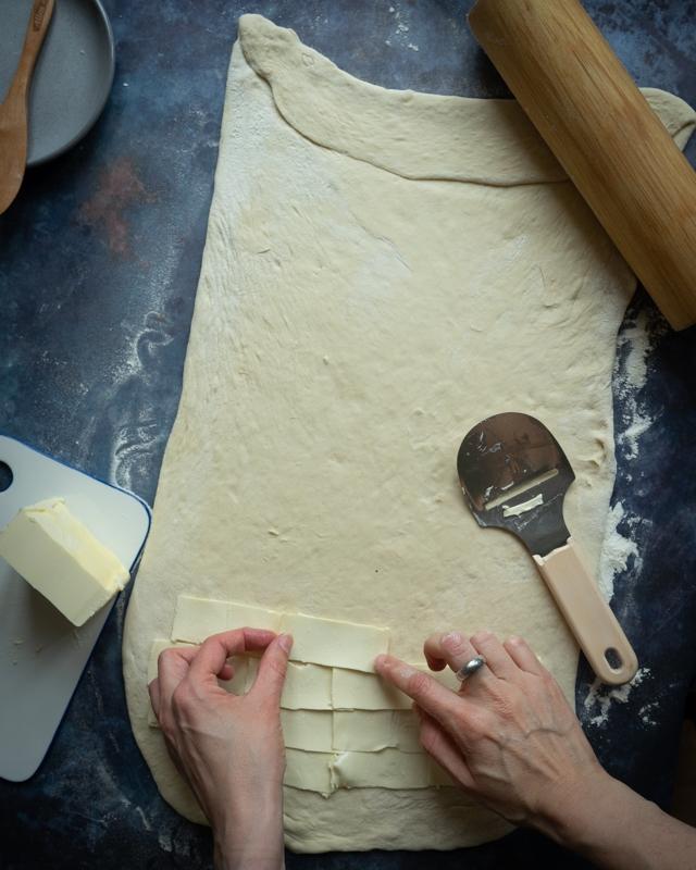 Making tebirkes dough.