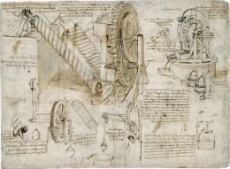 Leonardo - Vite d'Archimede e ruote d'acqua