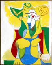 Picasso, Femme assise au chapeau jaune et vert, 1962