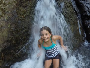 Mackenzie in a waterfall