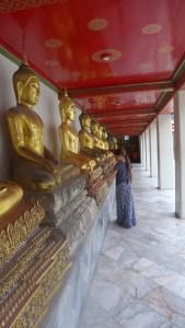 Line of sitting Buddhas and Mackenzine examining one of them