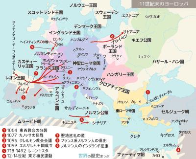 十字軍の背景 東スラヴ人の動向 キエフ大公国 11世紀末のヨーロッパ地図