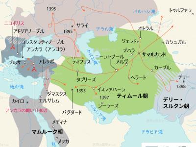 ティムール朝の隆盛地図