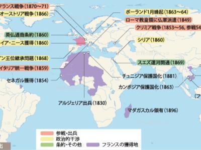 ナポレオン3世の対外進出地図