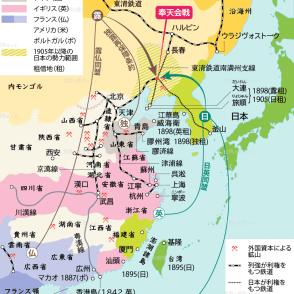 日露対立と列強 列強による中国の分割地図 列強の中国侵略