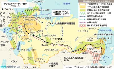 対ソ干渉戦争 赤軍 ロシア十月革命 ソヴィエト政権と戦時共産主義 革命期のロシアと対ソ戦争地図