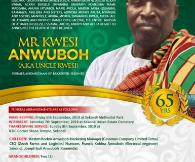Kwesi Anwuboh: Former Council 1 Vice Chairman Goes Home this Weekend