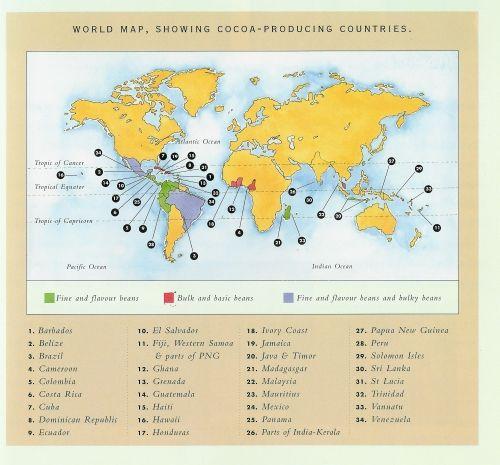 Kraje produkujące kakao (grafika Vreeland & Associates)