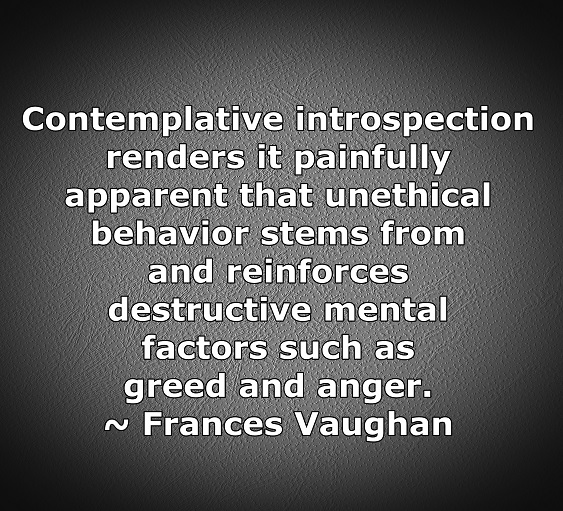 In the quiet, it becomes obvious that destructive behaviors are the results of destructive thoughts.