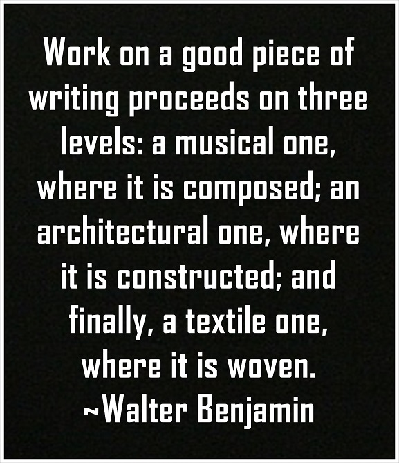 Writing, like any other work of art, is not one-dimensional. It is created on many levels.