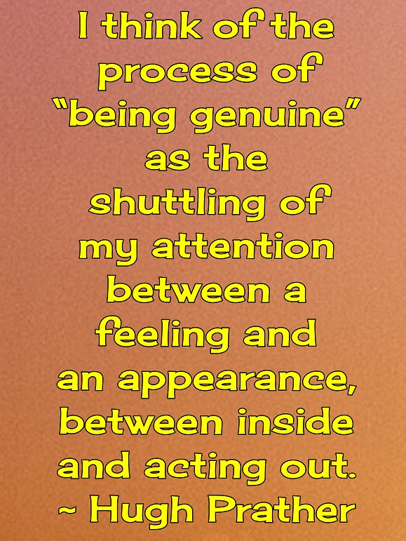 I think that being geniune is honoring what I feel by keeping my actions consistent with my values.
