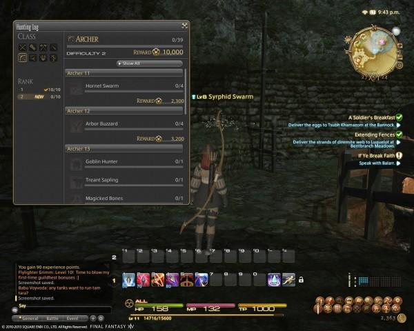 Final Fantasy XIV A Realm Reborn Hunting Log