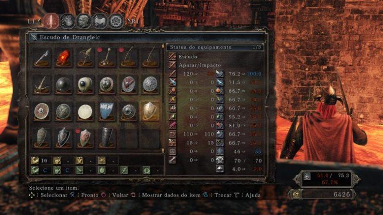 Dark Souls II - PS4 - Escudo de Drangleic no Inventário