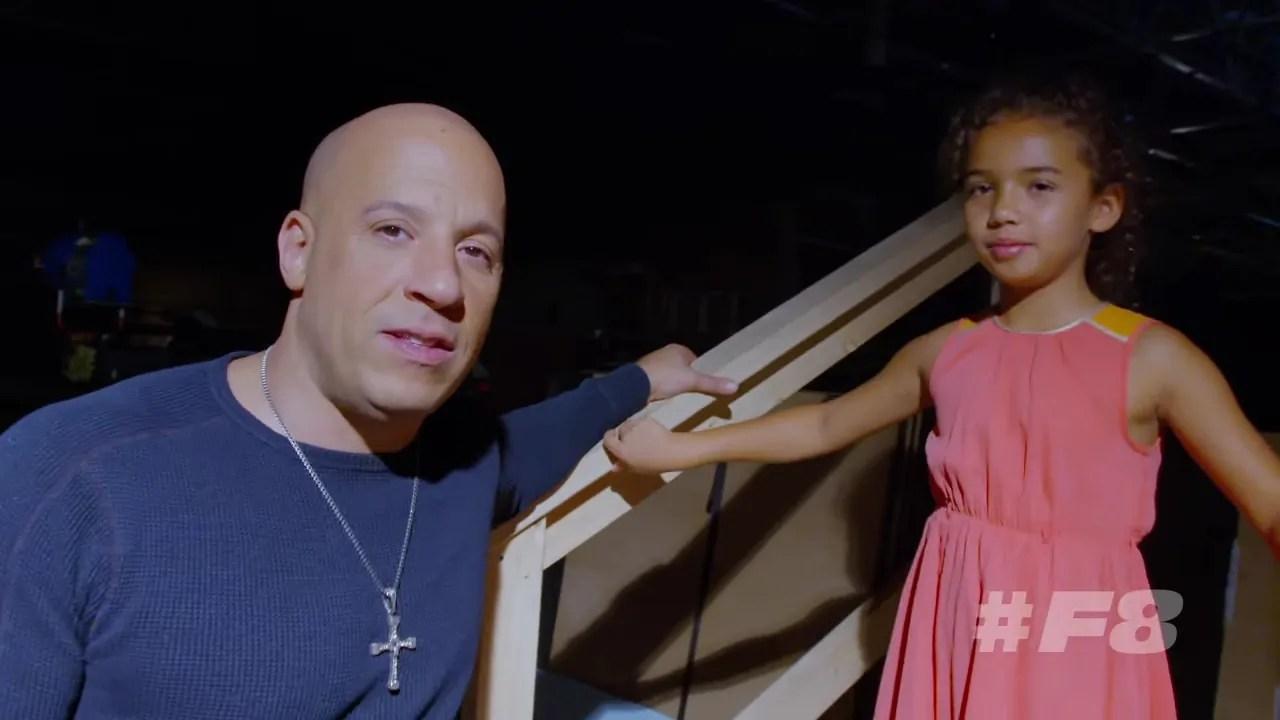 Filha de Vin Diesel é destaque em vídeo de bastidores de Velozes e Furiosos 8
