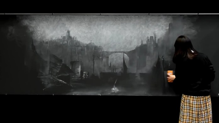 Dark Souls III - Lothric recriada em quadro negro escolar