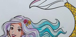 Boneca Barbie Sereia Dreamtopia - Colorindo um lindo desenho - Mermaid Coloring Pages 13