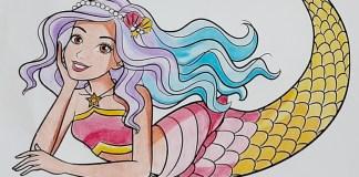 Boneca Barbie Sereia Dreamtopia - Colorindo um lindo desenho - Mermaid Coloring Pages Finalizado Topo