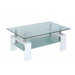 table basse de salon en verre et mdf blanc laque