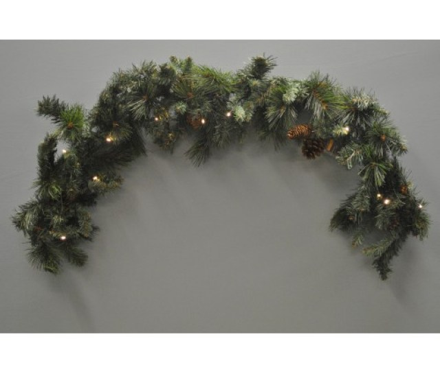 Cm Mantlepiece Pre Lit Christmas Garland With Pine Cones Battery By Kingfisher