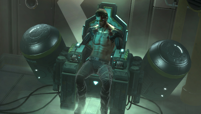 Adam Jensen in The Missing Link during Deus Ex: Human Revolution