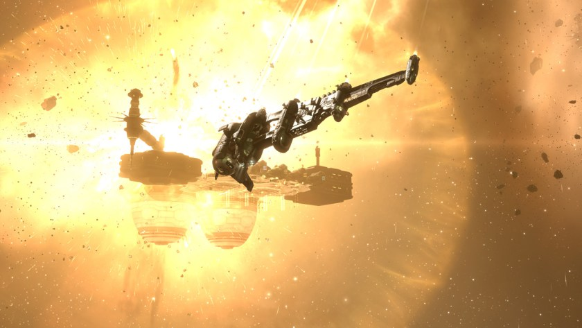 Flying by an exploding pirate base in a catalyst frigate in Eve Online