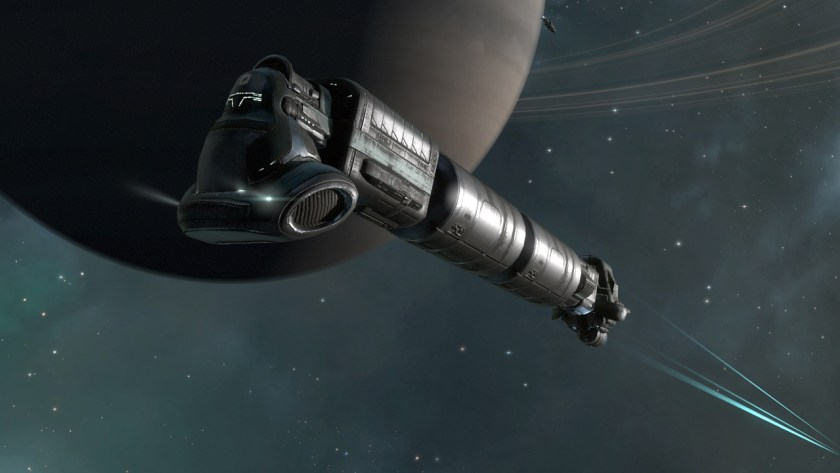 A Gallente industrial ship in Eve Online