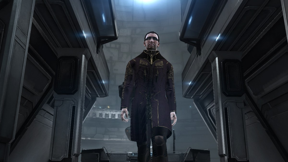 Walking to the captain's quarters aboard a space station in Eve Online