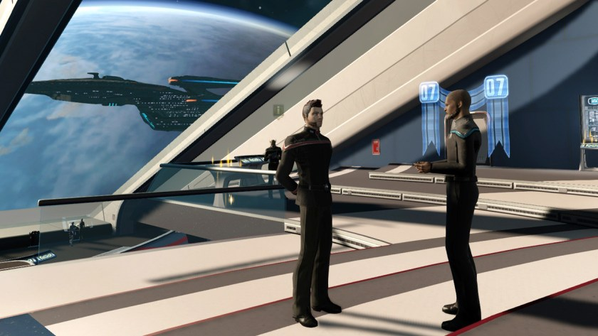 Admiral Redwood talking to the Temporal Agent in Star Trek Online