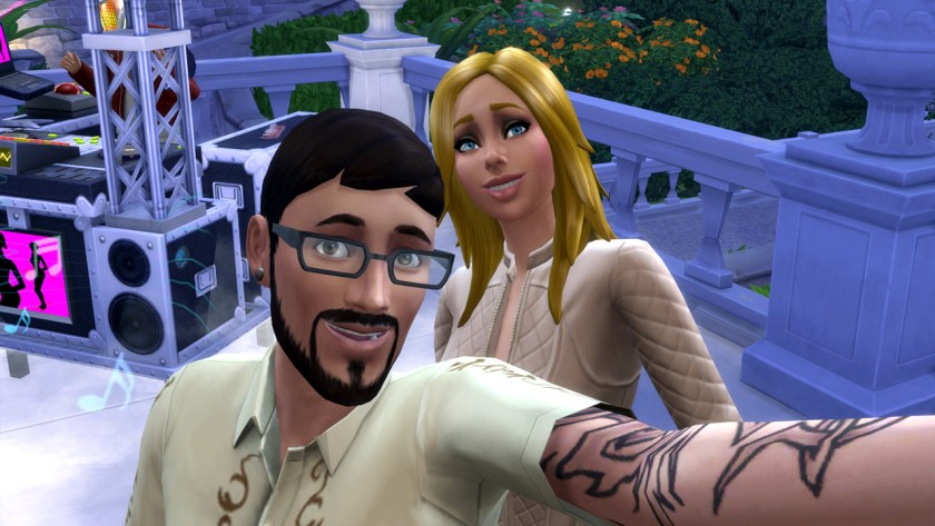 Andre DaSilva and Babs L'Amour take a selfie during a dance party in The Sims 4