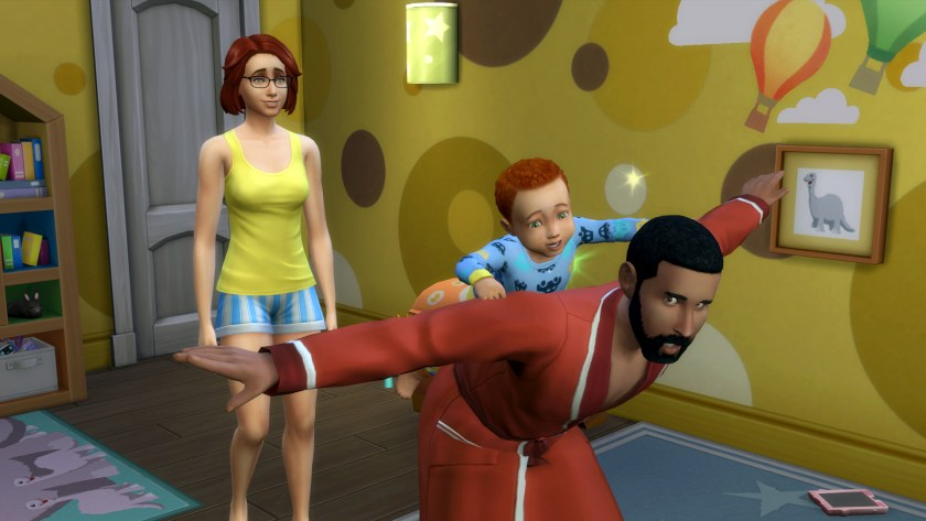 Iggy Pancakes playing with his dad Bob in The Sims 4