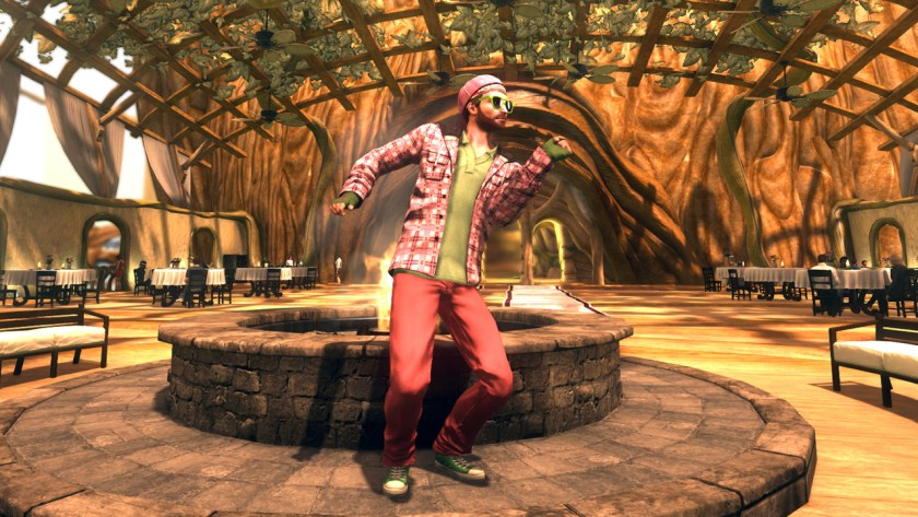 Wearing a pink and green outfit at Axel's restaurant in Secret World Legends